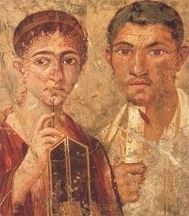 Un romain et sa femme, fresque antique de Pompéi
