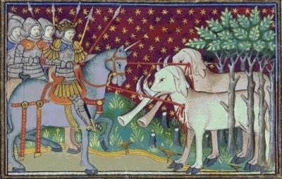 Alexandre le grand en Inde, enluminure d'un manuscrit médiév